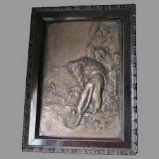 Antique Repousse Plaque of a Lion & Lioness, Artist Signed