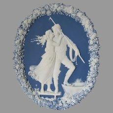 Antique Jasperware Plaque with Sailor & Lady, Nautical, Maritime