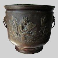 Antique Repousse Brass Jardiniere, Planter with Cherubs, Artists, Belgium