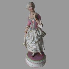 Fine c1870s Paris, France, Bisque Porcelain Lady Figurine, Chantilly