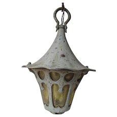 Antique Arts & Crafts, Tudor Hanging Light, Architectural Garden Lamp