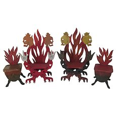 Folk Art Miniature Furniture with Skulls & Flames, Hand Made Doll House Decor