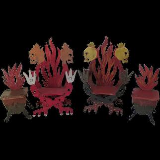 Folk Art Miniature Furniture with Skulls & Flames, Hand Made Doll House Decor