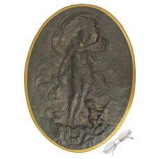 Antique Mythological Bas Relief Sculpture of Venus, Aphrodite, Cupid