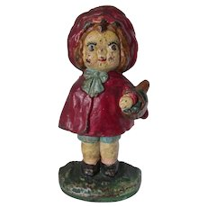 Circa 1930s Hubley Little Red Riding Hood Cast Iron Doorstop, Original Paint