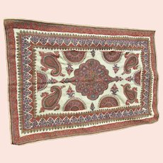 Fine Antique Hand Embroidered Middle Eastern Rug, Tablecloth, Shawl