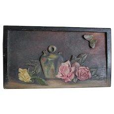 Primitive Folk Art Hand Carved Plaque, Oil Painting of Roses & Jug