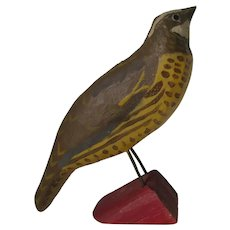 Primitive Folk Art Hand Carved Wood Bird, Original Paint