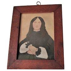 Antique c1861 Miniature Portrait Miss Judith Ellis by Chas Wills