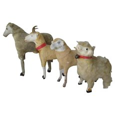 4 Antique German Putz Sheep and a Ram, German Wooly Lambs