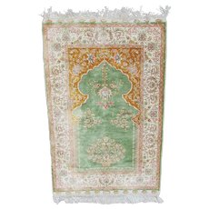 Beautiful Hand Knotted Silk Prayer Rug, Signed, Turkmen Village