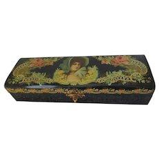 Antique c1880s Victorian Celluloid Vanity, Dresser Box with Ladies Portrait
