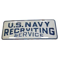 Rare License Plate Topper US Navy Recruiting Service, Auto Accessory