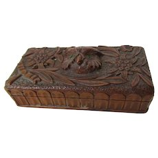 Antique German Black Forest Carved Box, Great Horned Owl, Glass Eyes