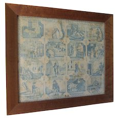 Primitive Antique c1800 Printed Linen, Stages of a Man's Life, Cradle to Coffin