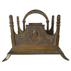 Antique Bronze Letter Holder with Roman Soldier, Office Accessory