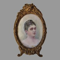 Antique Miniature Painting of a Lady, Bronze Picture Frame