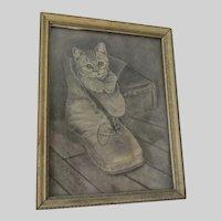 Charming Folk Art Drawing of a Kitten in a Shoe, Signed