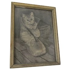 Charming Folk Art Drawing of a Kitten in a Shoe, Signed