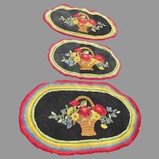 Pretty Set of 3 Hand Hooked Wool Rugs, Flower Basket, Folk Art