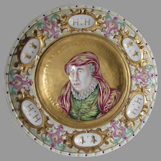 Antique  French King Henry II Porcelain Plaque, Charger
