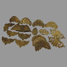 Antique Dore Brass Medallions, 19thC Victorian Embellishments