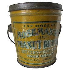 Antique Advertising Mosemann's Peanut Butter Tin Pail, Lancaster, PA