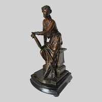 Lovely Antique c1880s Victorian Sculpture, Lady with Lyre