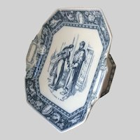 Antique c1881 Wedgwood Ivanhoe Tazza, Compote, Blue Transferware