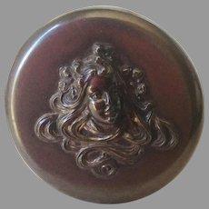 Antique Art Nouveau Palmer Gardenglo Jar with Lady, Vanity