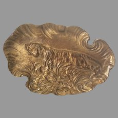 Antique Bronze Tray with Tiger, Desk or Vanity Accessory