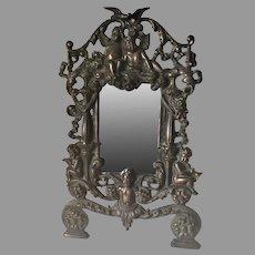 Antique Mirror, Picture Frame, Cherub Angels, Doves & Flowers