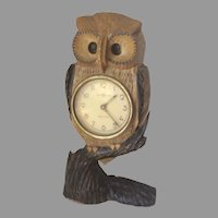 Vintage Hand Carved Owl Moving Blinking Eye Clock Meiko Tokei