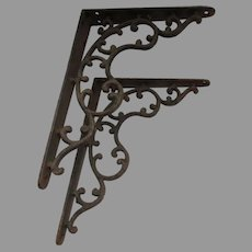 Pretty Pair of Antique Cast Iron Shelf Brackets, Architectural
