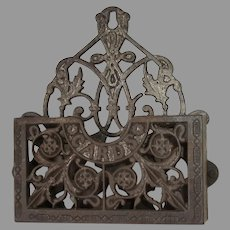 Antique Circa 1880s Victorian Cast Iron, Wall Mount Card Holder