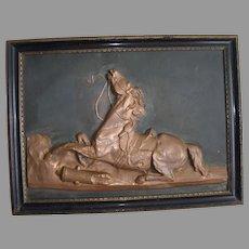 Antique Repousse Copper Plaque of a Horse