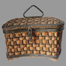 Antique Edwardian Wicket Sewing Basket with Silk Lining