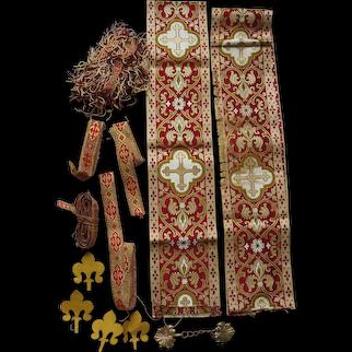 Fine French Christian Silk Lace, Ecclesiastical Vestment Trim