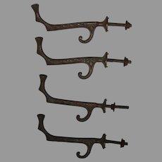 Set of 4 Antique Brass Coat Hooks with Leaf Design