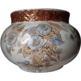 Antique Ironstone Jardiniere, Planter with Morning Glory Flowers
