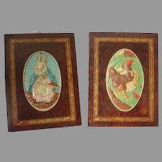 Charming 1930s Children's Plaque Hen with Apron, Rabbit with Umbrella