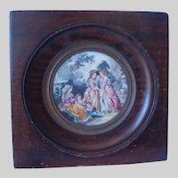 Antique French Miniature Painting, Ladies & Children in Garden