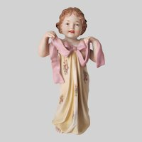 Rare Antique Piano Baby, Bisque Porcelain Doll, Figurine