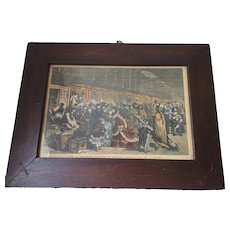 Antique c1870s Hand Colored Print, Railway Station at Chicago