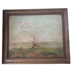 c1942 Hazy Morning Oil Painting, Cape Cod MA, Signed John Logan