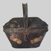 Antique c1881 Tole Sewing Basket, Toleware, Primitive