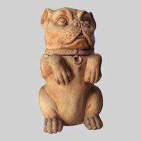 Antique Edwardian Terra Cotta Bulldog Jar, Canister, Tobacco Humidor