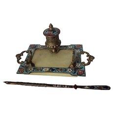 Antique French Champlevé Enamel, Alabaster Inkwell & Dip Pen