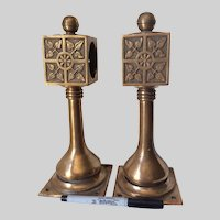 Antique Architectural Bronze Hand or Foot Rail Brackets, Aesthetic Movement