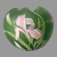Antique Art Nouveau Art Glass Rose Bowl, Vase, Enamel Iris Flowers